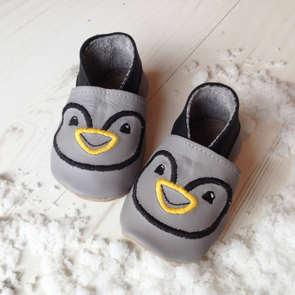 Personalised Penguin Christmas Baby Shoes - Born Bespoke