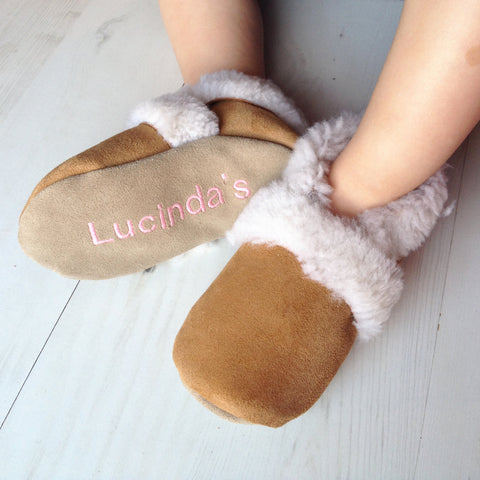Personalised Sheepskin Slippers for babies and children