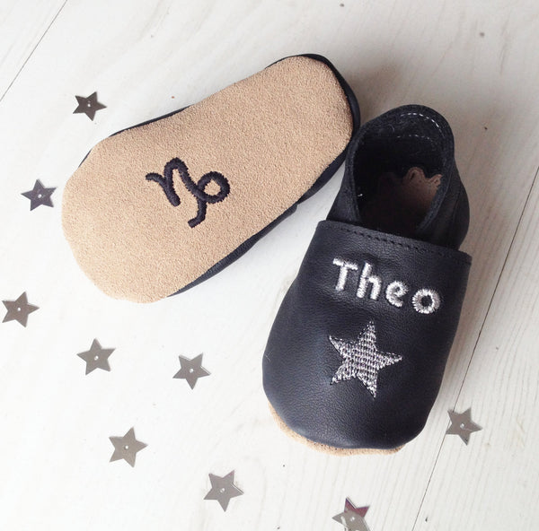 Personalised Zodiac Star Sign Constellation Baby Shoes - Born Bespoke