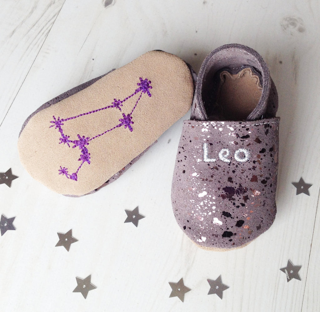 Personalised Star-Sign Constellation 'Moonstone' Suede Baby Shoes - Born Bespoke
