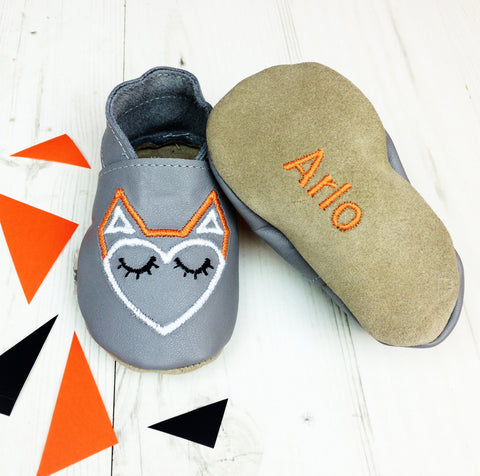 Geometric Fox Unisex leather Baby Shoes by Born Bespoke