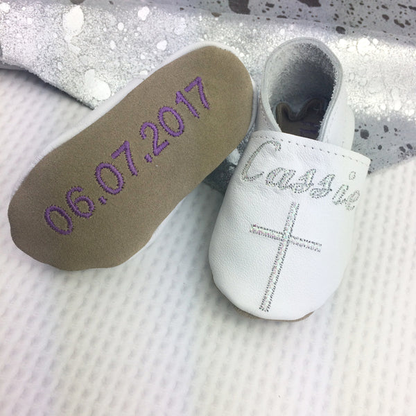 Personalised Iridescent Christening Shoes with Cross - Born Bespoke