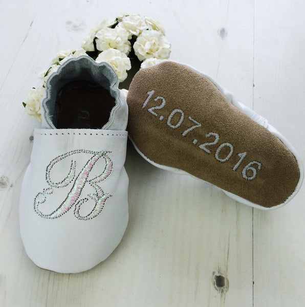 Personalised Iridescent Initial Leather Christening Shoes - Born Bespoke