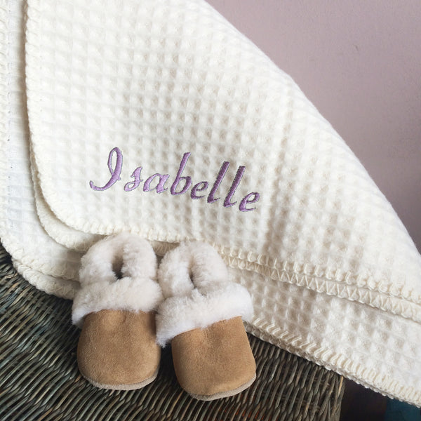Personalised Lambswool Blanket and Sheepskin Bootie Baby Gift Set - Born Bespoke