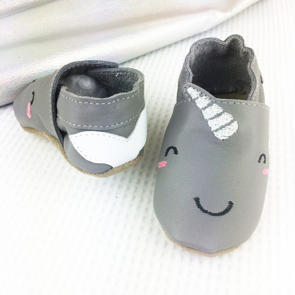 Narwhal Leather Baby Shoes by Born Bespoke - Born Bespoke