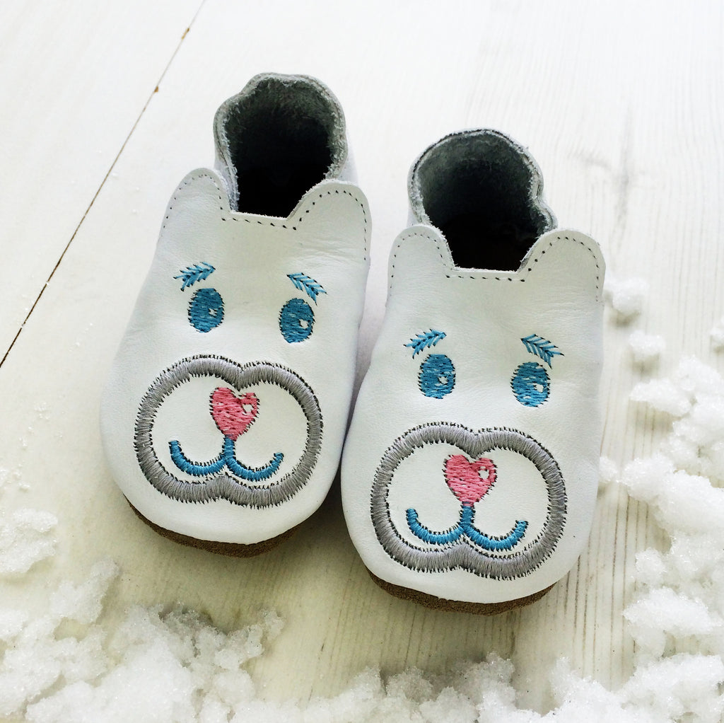 Personalised Polar Bear Christmas Baby Shoes - Born Bespoke