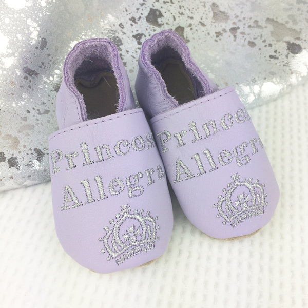 Personalised Princess Leather Baby Shoes - Born Bespoke