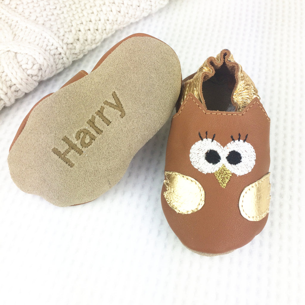 Metallic Owl Leather Baby Shoes by Born Bespoke - Born Bespoke