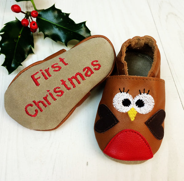 Personalised Robin Christmas Baby Shoes - Born Bespoke