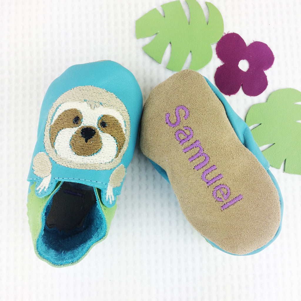 Personalised Sloth Baby Shoes - Born Bespoke