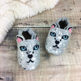 Personalised Snow Leopard Christmas Baby Shoes by Born Bespoke - Born Bespoke