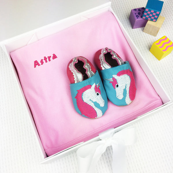 Personalised Unicorn Baby Shoes Gift Set - Born Bespoke