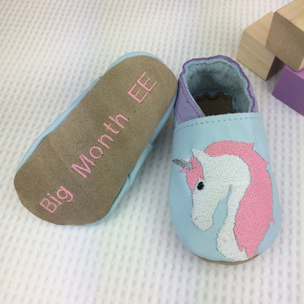 Embroidered Candy Unicorn Leather Baby Shoes by Born Bespoke - Born Bespoke