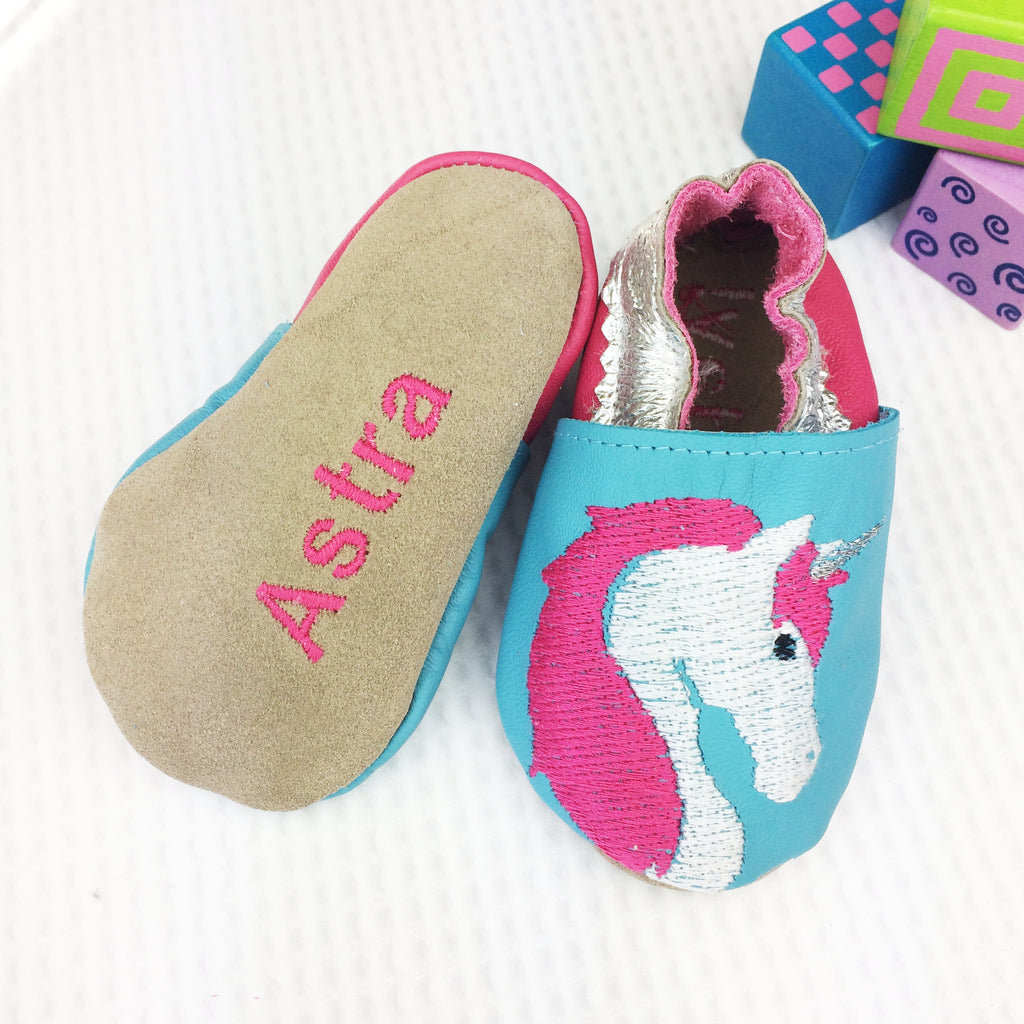 Embroidered Unicorn Leather Baby Shoes by Born Bespoke - Born Bespoke