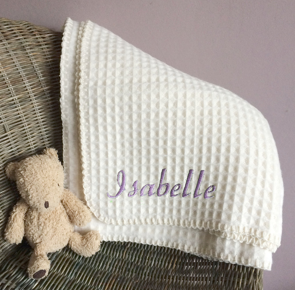 Personalised Lambswool Baby Blanket - Born Bespoke
