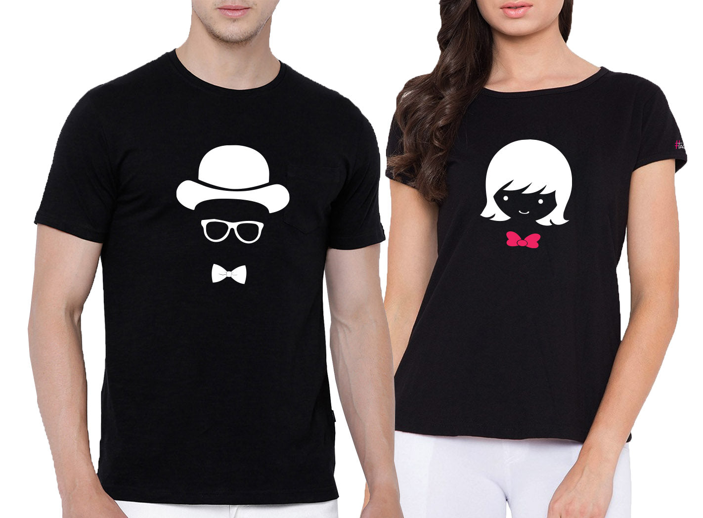 74ea454a Him & Her - Couple Round neck T-shirt ( Pack of 2)