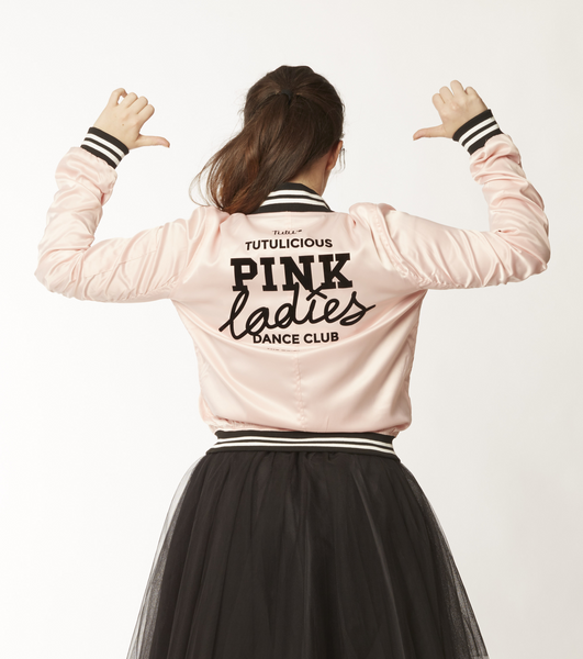 Pink Ladies Satin Bomber Jacket