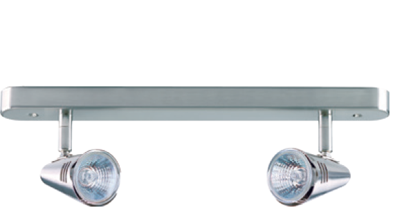 2 X 50W LV CEILING LIGHT FITTING 2 LAMP WHITE BAR