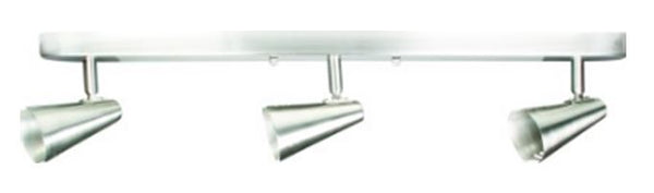 LV CEILING LIGHT FITTING 3 LAMP SILVER BAR