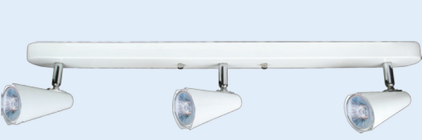 LV CEILING LIGHT FITTING 3 LAMP WHITE BAR