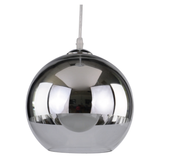230VAC 60W 1XE27 PENDANT GLASS/ CHROME 180MM DIA.