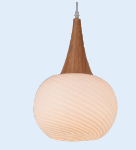 230VAC 60W 1XE27 PENDANT FROSTED GLASS/WOOD 210MM DIA.