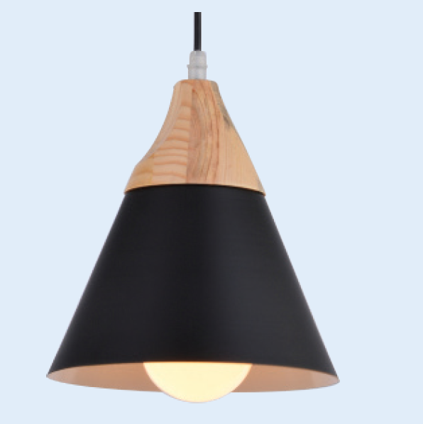 230VAC 60W 1XE27 PENDANT BLACK/WOOD 220MM DIA.