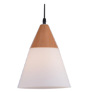 230VAC 60W 1XE27 PENDANT FROSTED GLASS/WOOD 195MM DIA.