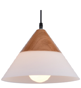 230VAC 60W 1XE27 PENDANT FROSTED GLASS/WOOD 265MM DIA.