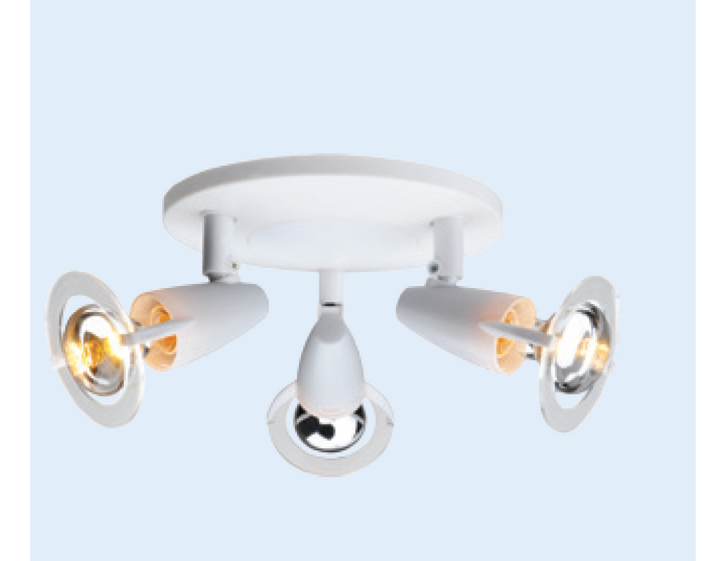 230VAC 3XE14 (R50) 25W MAX WHITE SPOT LIGHT FITTING
