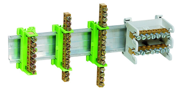 75A 15-WAY DIN MOUNT TERMINAL STRIP GREEN