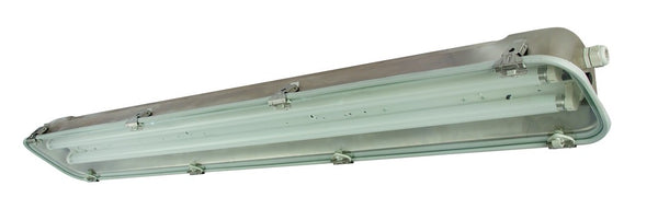 1X58W T8 230VS/STEEL WHITE REFLECTOR + GLASS COVER IP66