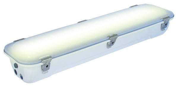 1+1X18W T8 230V EMERGENCY S/STEEL PAINTED FITTING OPAL POLY
