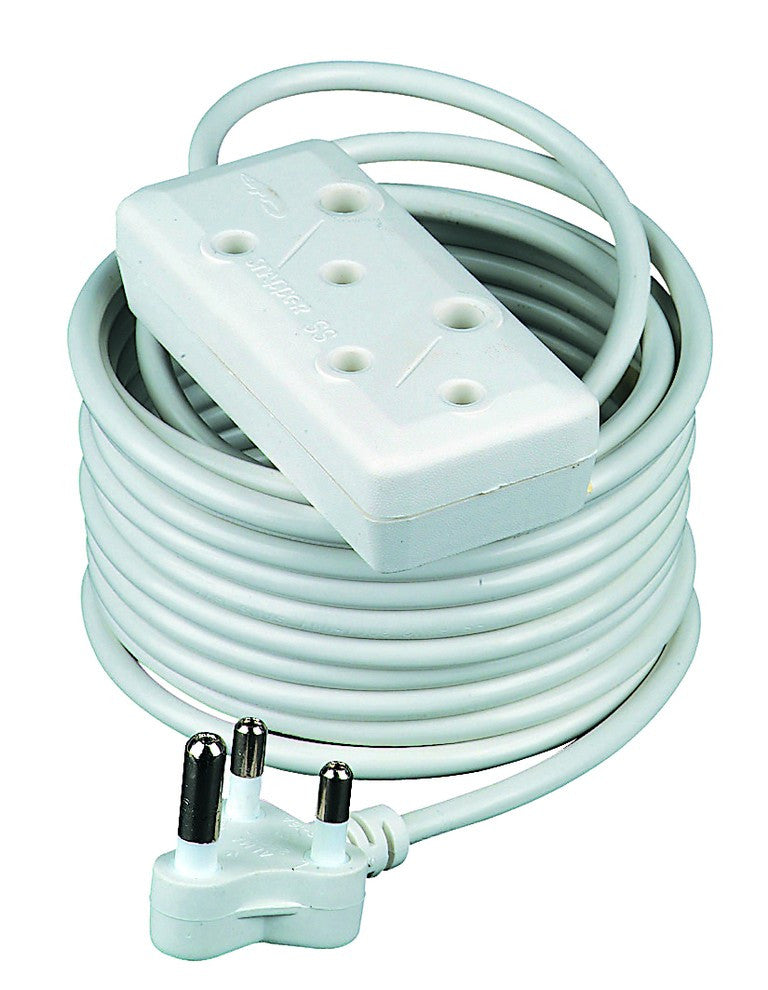 25M WHITE EXTENSION CORD 10A SIDE BY SIDE PLUG