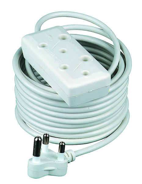 15M WHITE EXTENSION CORD 16A SIDE BY SIDE PLUG