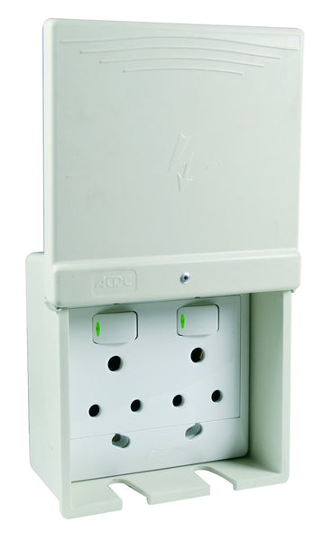 W/P SURFACE 16A DOUBLE SOCKET OUTLET - DMC RAL7032