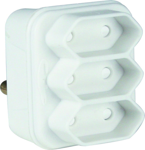 ADAPTOR 3 X 2 PIN EURO WHITE