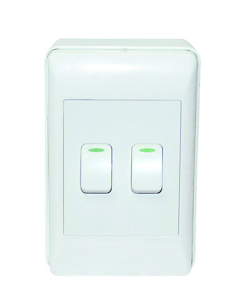 2-LEVER 1-WAY WHITE SW 2x4 C/W SURFACE BOX