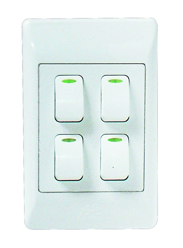 4-LEVER 1-WAY SWITCH 2x4 C/W WHITE COVER PLATE