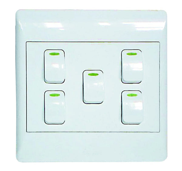 5-LEVER 1-WAY SWITCH 4x4 C/W WHITE COVER PLATE