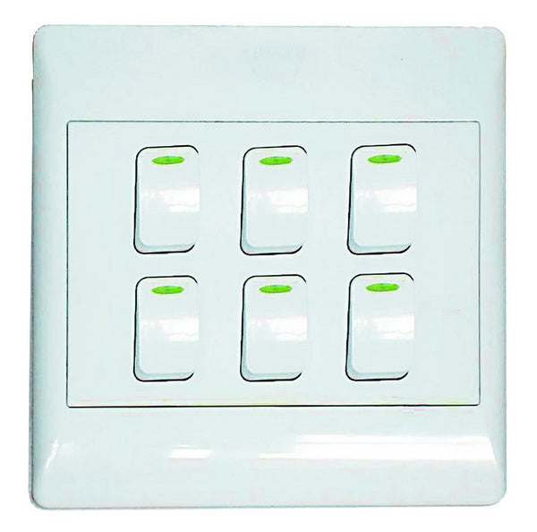 6-LEVER 1-WAY SWITCH 4x4 C/W WHITE COVER PLATE