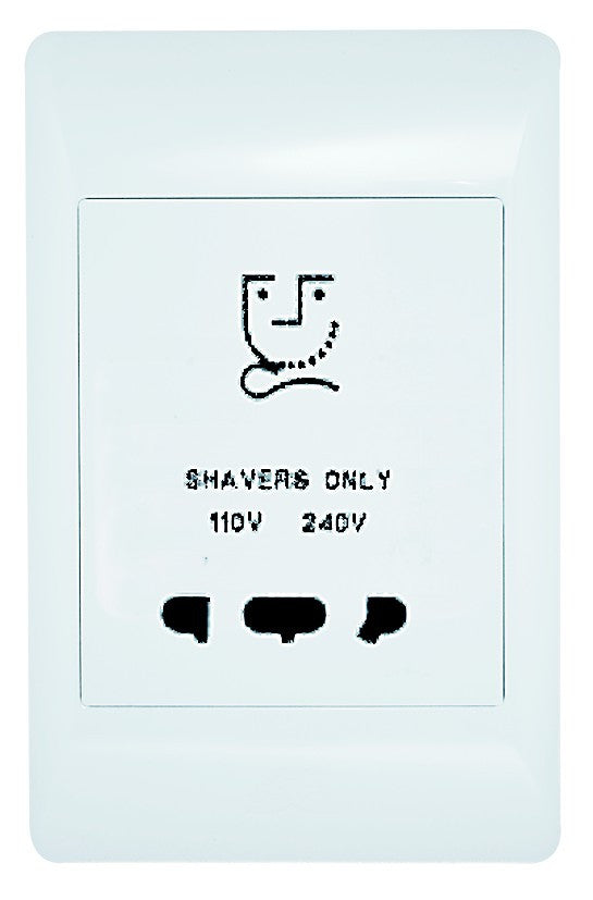 SHAVER SOCKET OUTLET 110/230V C/W WHITE COVER PLATE