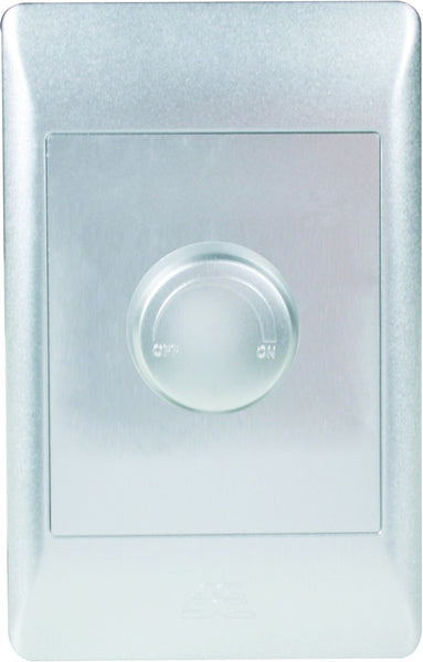 500W ROTARY DIMMER ON/OFF C/W SILVER COVER PLATE