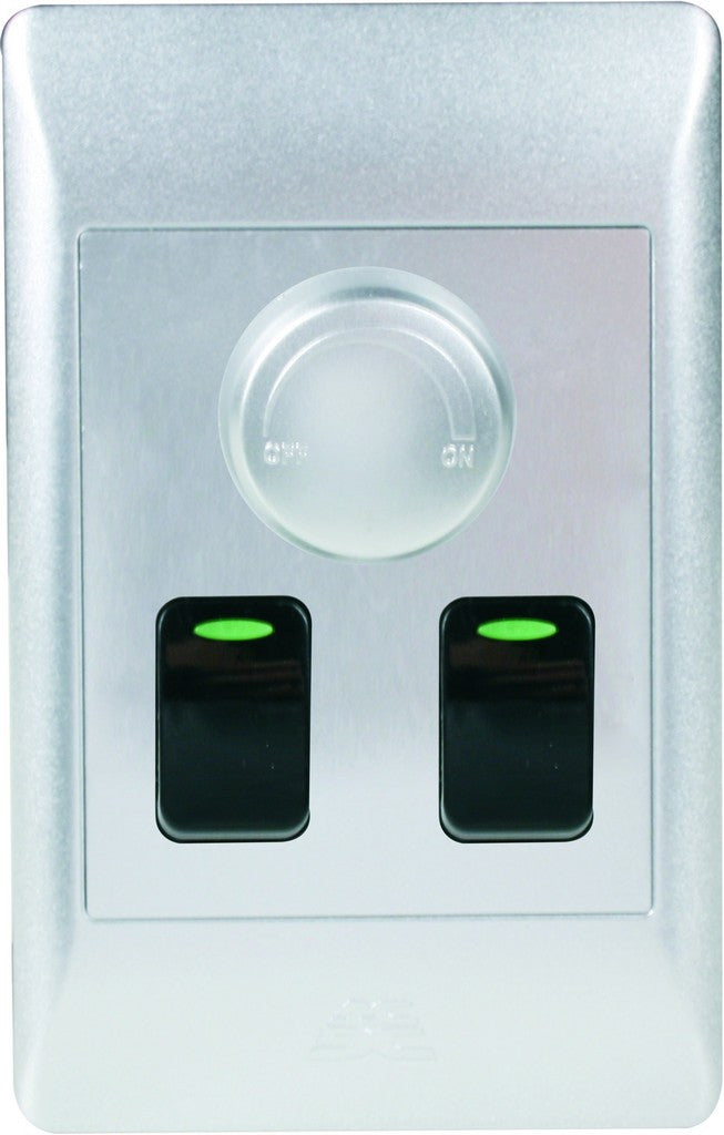 500W ROTARY DIMMER ON/OFF WITH 2 ONE WAY SWITCHES SILVER