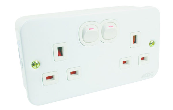 DOUBLE BRITISH SOCKET OUTLET 13A METALCLAD