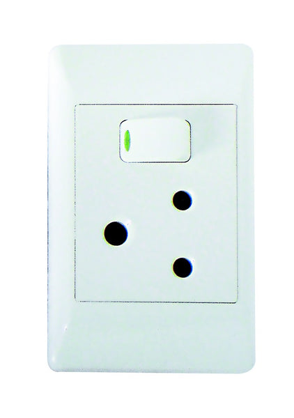 16A SWITCHED SOCKET OUTLET 2x4 WITH WHITE COVER PLATE