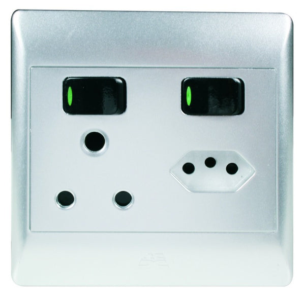 1x16A + 1 EURO SW SOCKET OUTLET 4x4 C/W SILVER COVER PLATE