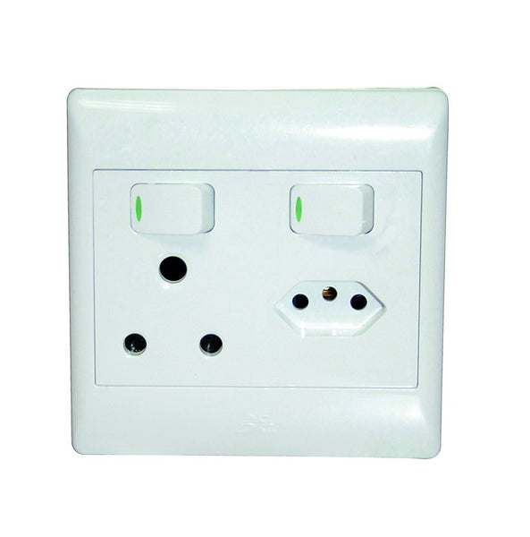 1x16A + 1 EURO SW SOCKET OUTLET 4x4 WITH WHITE COVER PLATE