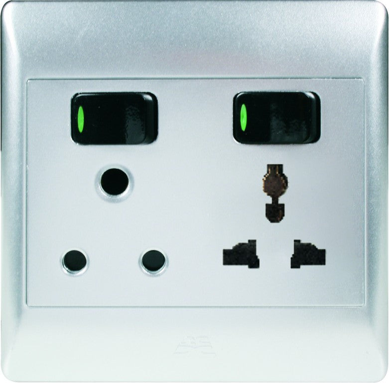 1x16A + 10A MULTI SOCKET OUTLET 4x4 C/W SILVER COVER