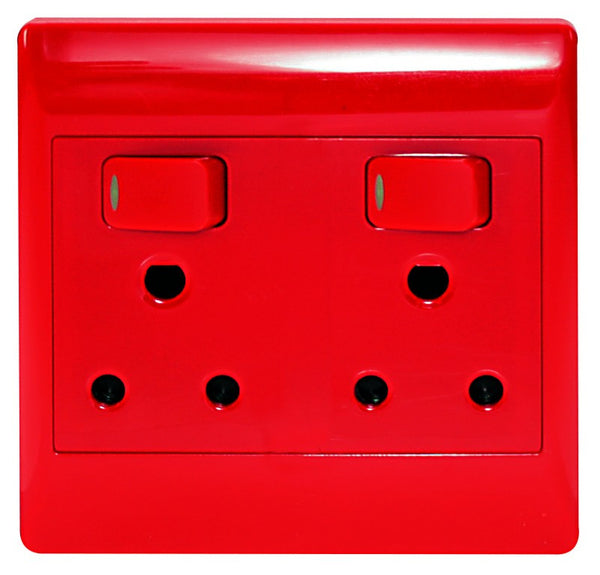 2X16A DEDICATED RED SWITCHED SOCKET OUTLET 4x4